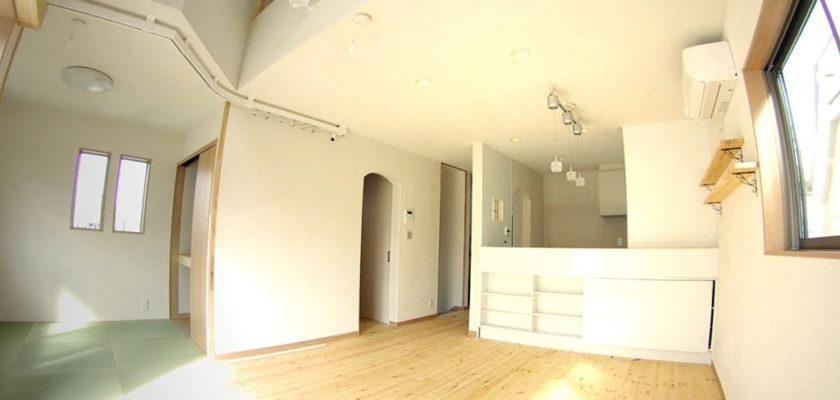 珪藻土仕上げの内装、琉球畳の和室
