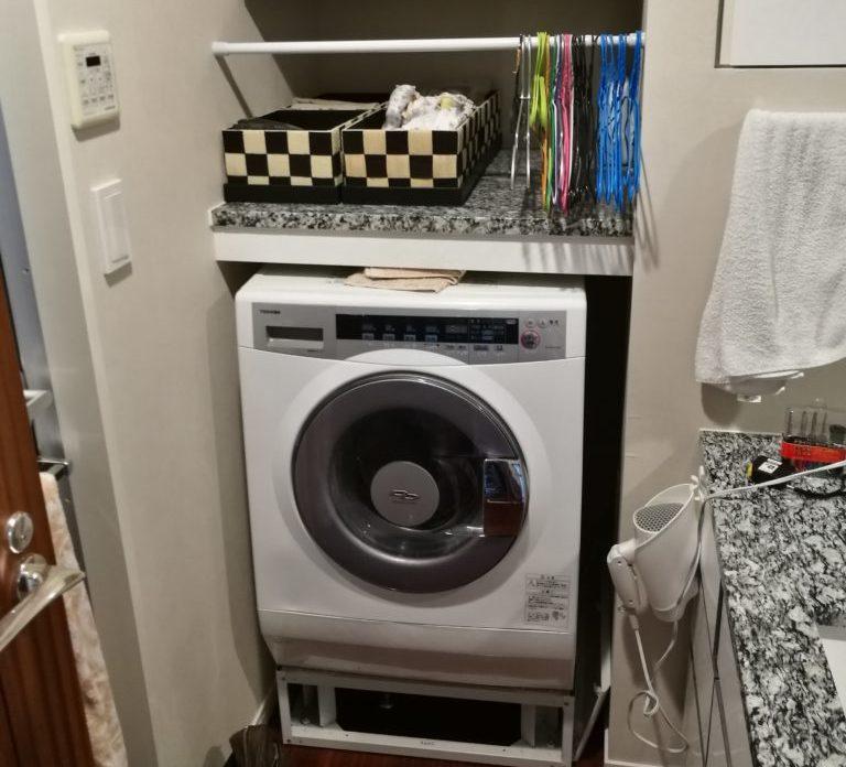 ドラム式洗濯機置き場を、縦型洗濯機が置けるようにリフォーム