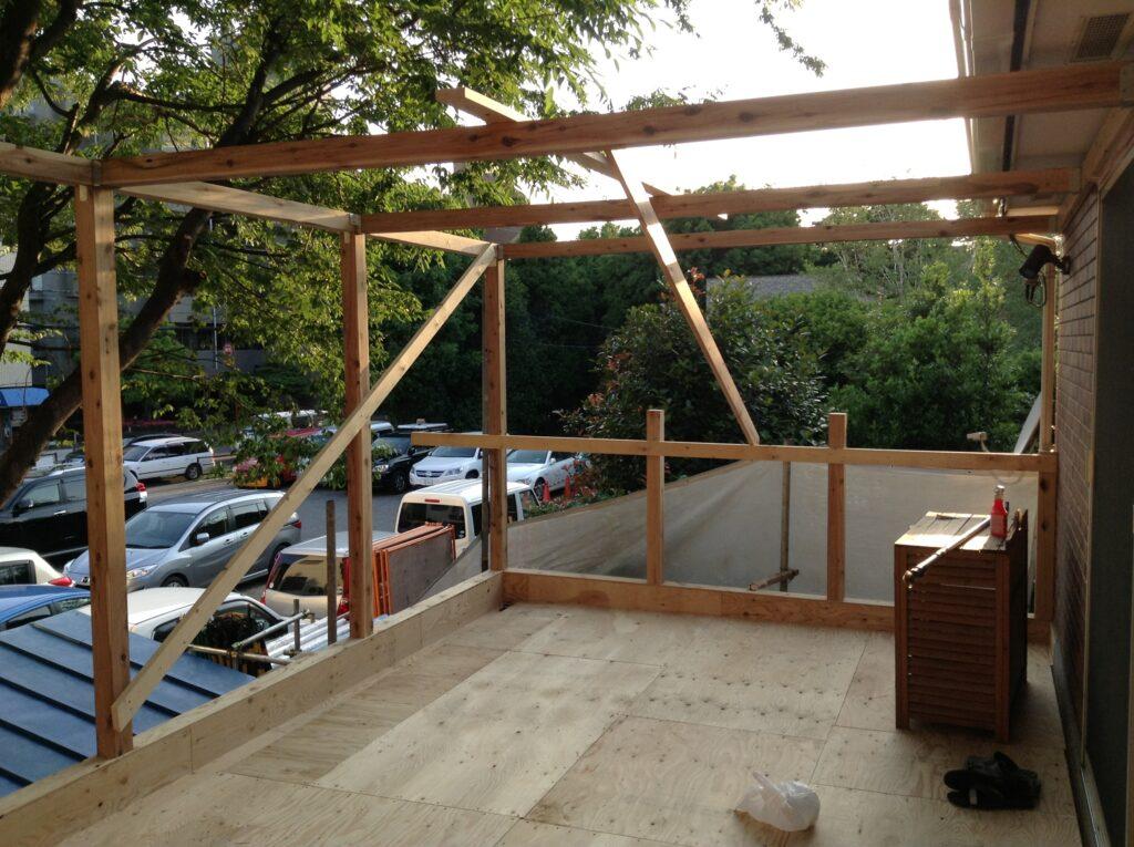 2階のウッドベランダを総改修1